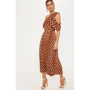 NWT PrettyLittleThing Brown Polka Dot Maxi Dress